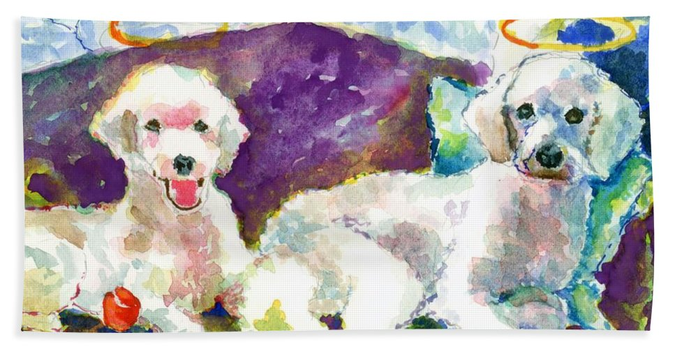 Poodle Framed Prints Beach Towel featuring the painting Little Angels Poodles by Marsden Burnell