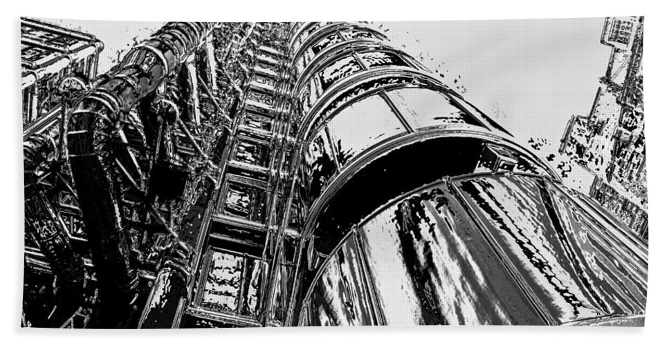 London. England Beach Towel featuring the digital art Lloyds Building Central London by David Pyatt