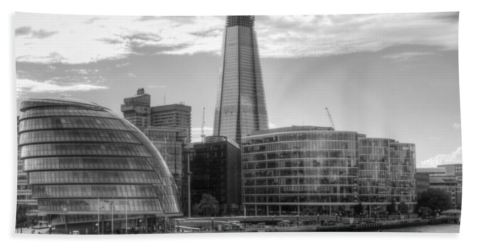 Shard Beach Towel featuring the photograph London Assembly and Shard by Chris Day