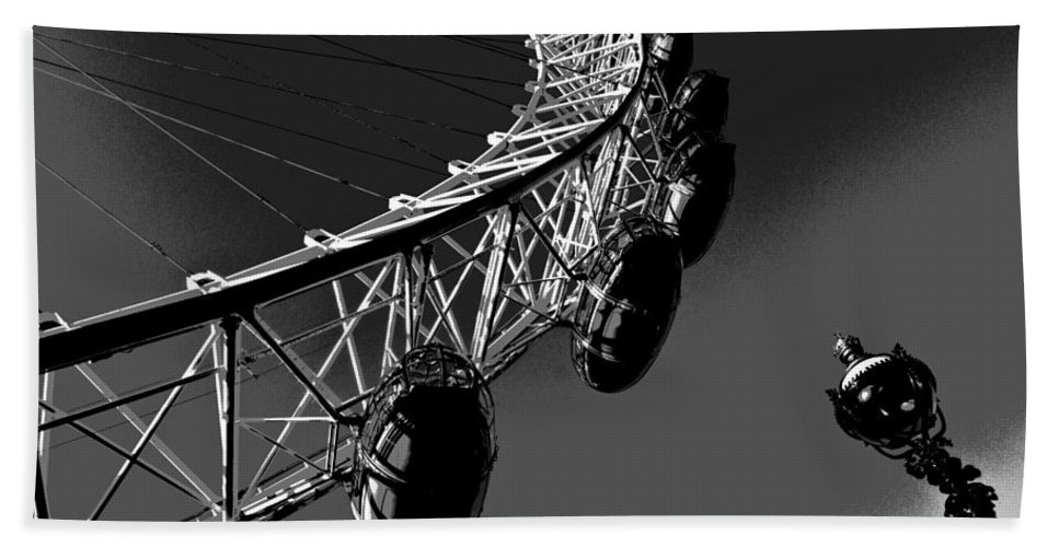 London Beach Towel featuring the digital art London Eye Digital Image by David Pyatt