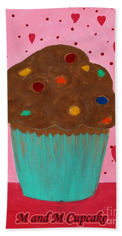 M And M Cupcake Beach Towel featuring the painting M And M Cupcake by Barbara Griffin