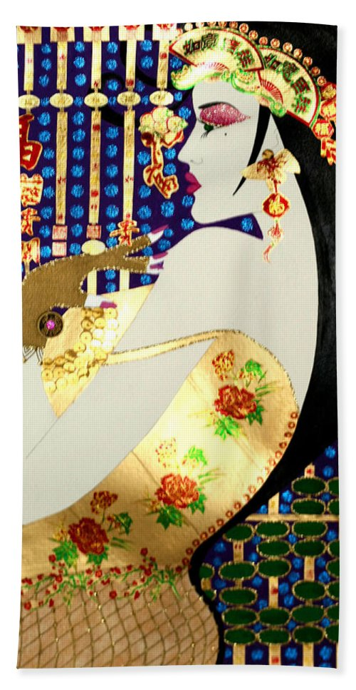 Asian Beach Towel featuring the painting Ma Belle Salope Chinoise No.13 by Dulcie Dee