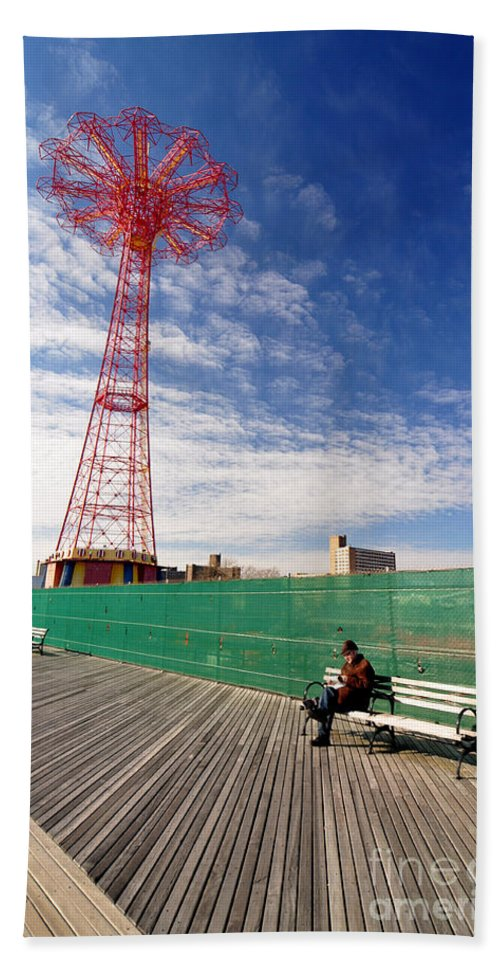 Coney Island Beach Towel featuring the photograph Man On A Bench by Mark Gilman