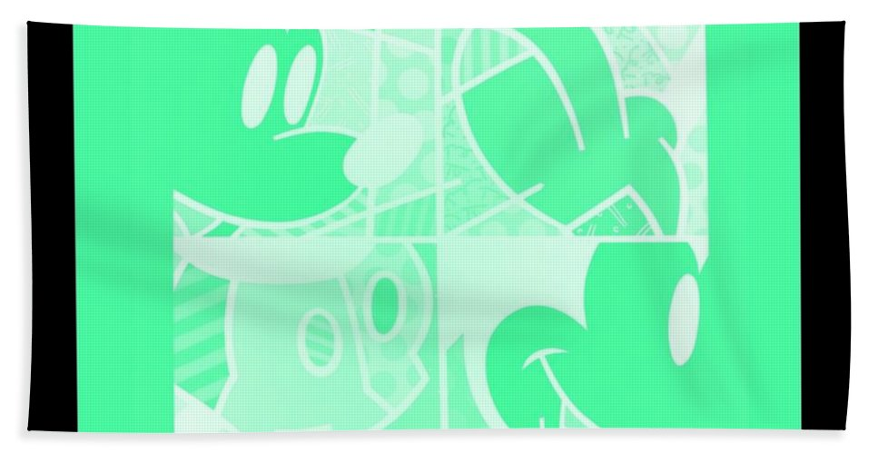 Mickey Mouse Beach Towel featuring the photograph Mickey In Negative Light Green by Rob Hans
