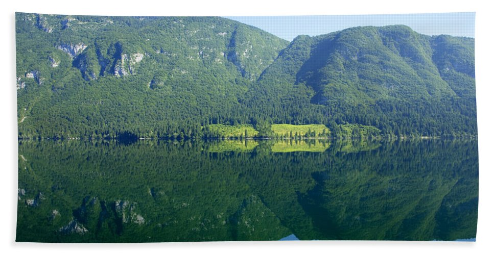 Lake Beach Towel featuring the photograph Morning Reflections by Ian Middleton