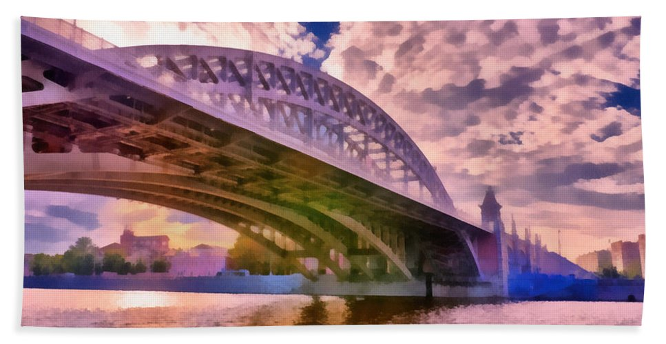Art Beach Towel featuring the photograph Moscow's Bridges by Michael Goyberg