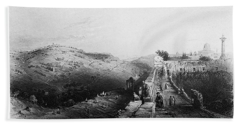 1843 Beach Towel featuring the photograph Mount Of Olives by Granger