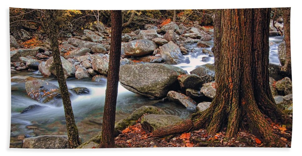 Water Beach Towel featuring the photograph Mountain Stream by Jill Battaglia