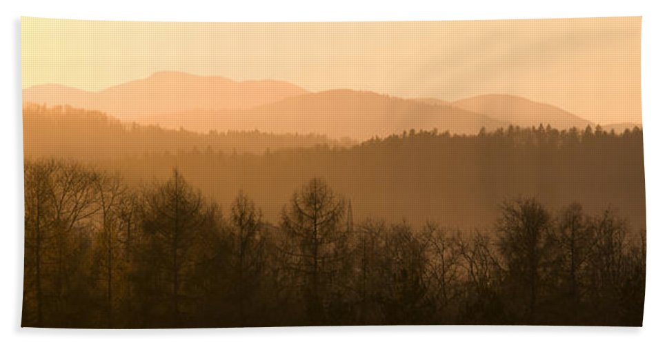 Mountains Beach Towel featuring the photograph Mountains On Fire by Ian Middleton