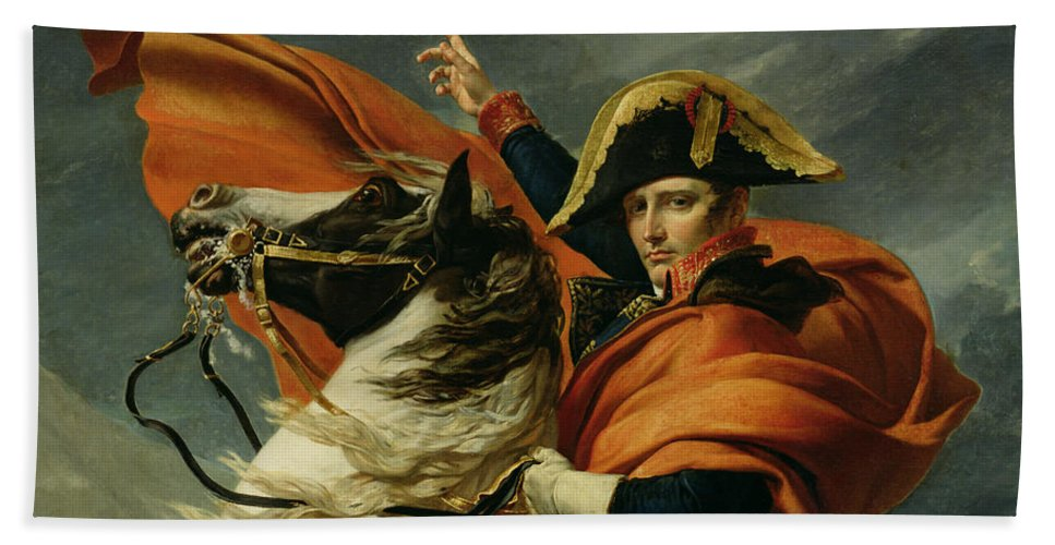 Equestrian; Portrait; Male; Man Beach Towel featuring the painting Napoleon Crossing The Alps On 20th May 1800 by Jacques Louis David