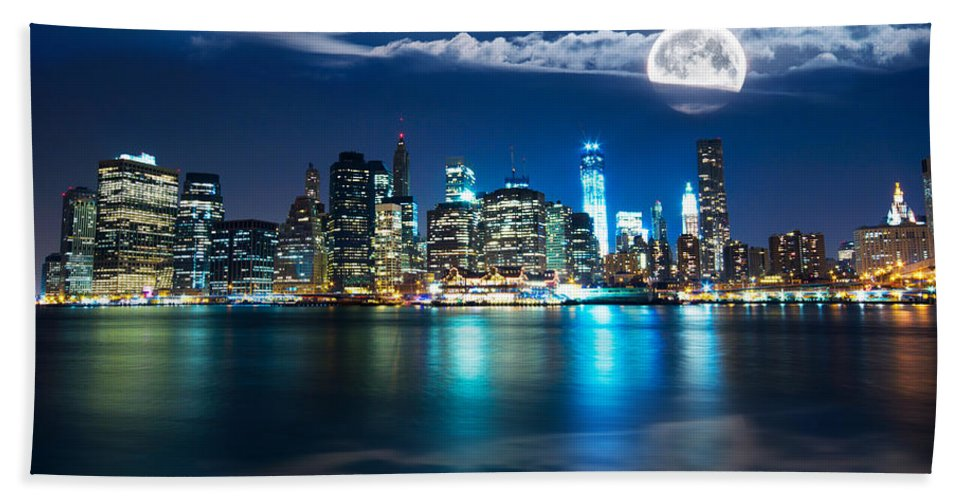 America Beach Towel featuring the photograph New York Skyline by Mircea Costina Photography