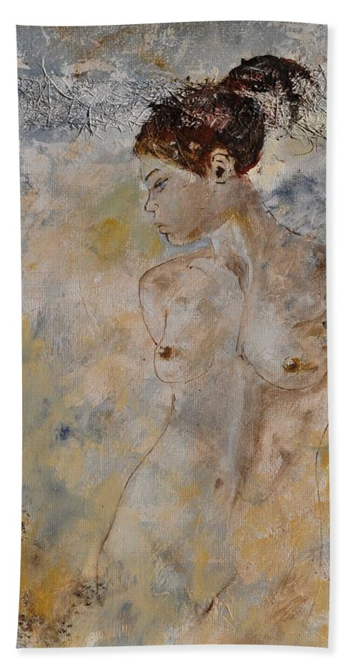 Nude Beach Towel featuring the painting Nude 562130 by Pol Ledent