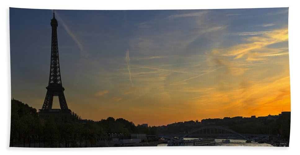 Sunset Beach Towel featuring the photograph Parisian Sunset. by Louise Heusinkveld