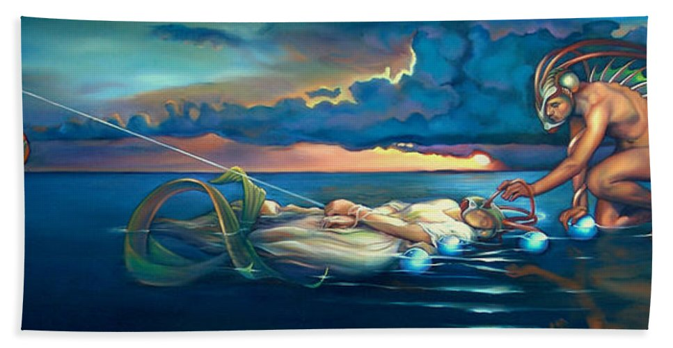 Mermaid Beach Towel featuring the painting Pavane For A Dead Princess by Patrick Anthony Pierson