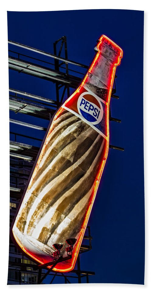 Pepsi Cola Beach Towel featuring the photograph Pepsi Cola Bottle by Susan Candelario