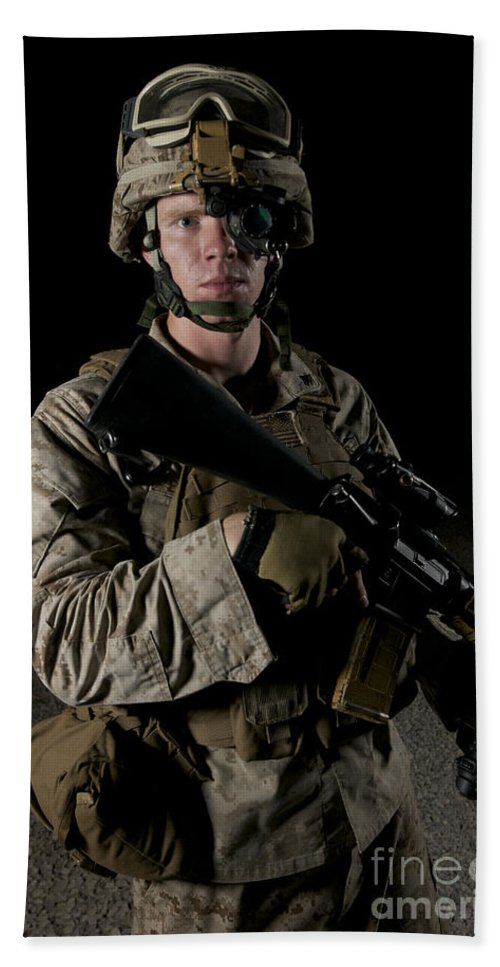 Operation Enduring Freedom Beach Towel featuring the photograph Portrait Of A U.s. Marine Wearing Night by Terry Moore