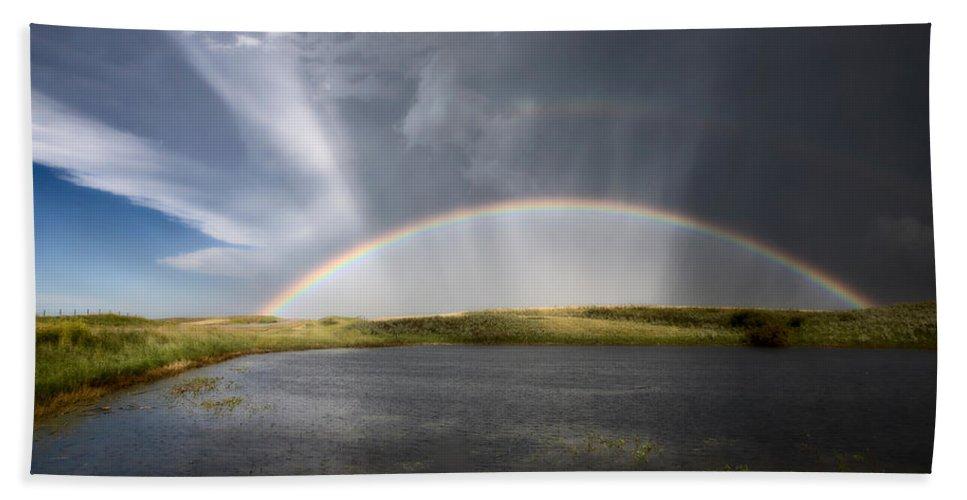 Hail Beach Towel featuring the photograph Prairie Hail Storm And Rainbow by Mark Duffy