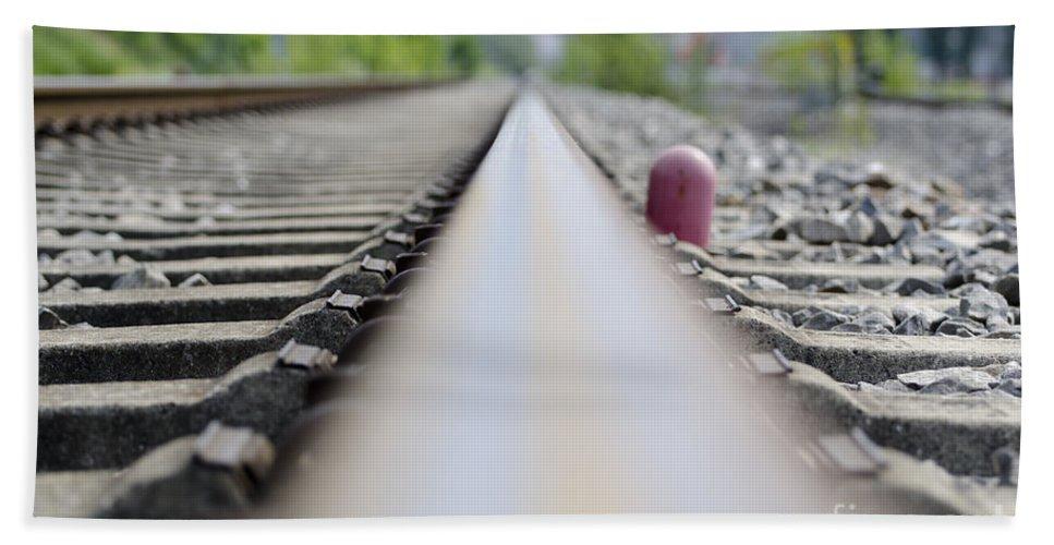 Railroad Tracks Beach Towel featuring the photograph Railroad Tracks by Mats Silvan