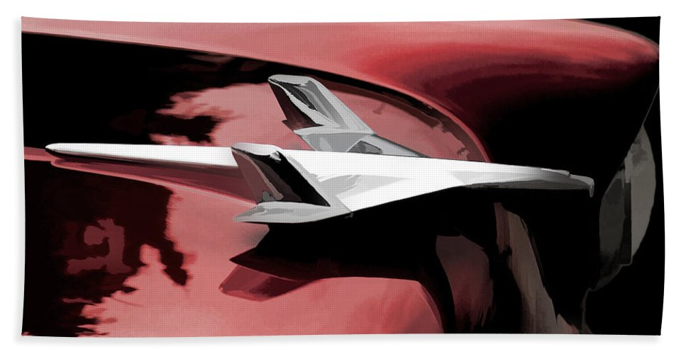 Automotive Beach Towel featuring the digital art Red Chevy Jet by Douglas Pittman