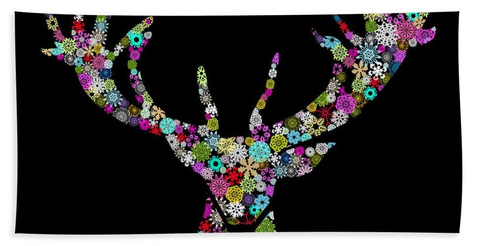 Animal Beach Towel featuring the digital art Reindeer Design By Snowflakes by Setsiri Silapasuwanchai
