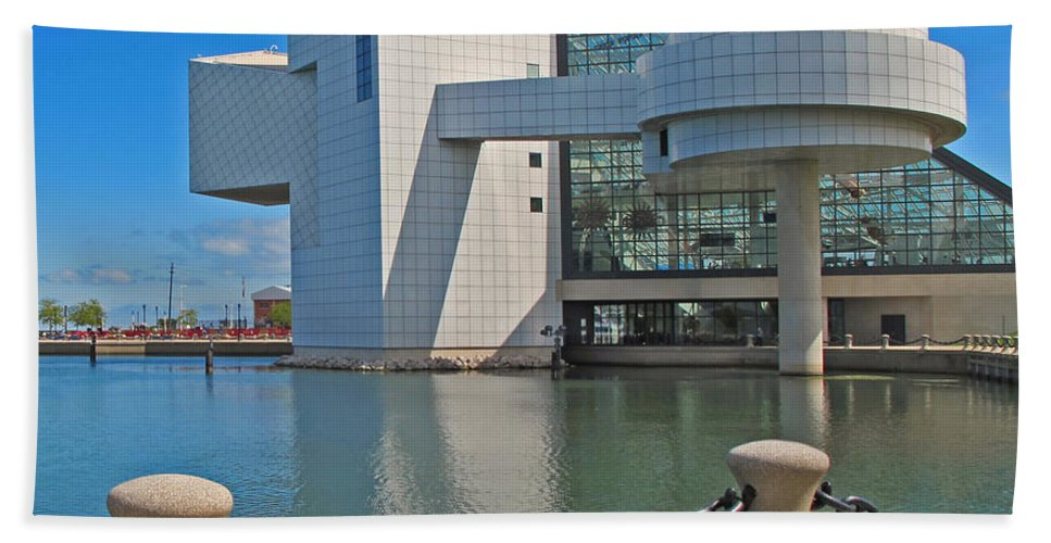 Rock And Roll Hall Of Fame Beach Towel featuring the photograph Rock And Roll Hall Of Fame by Dave Mills