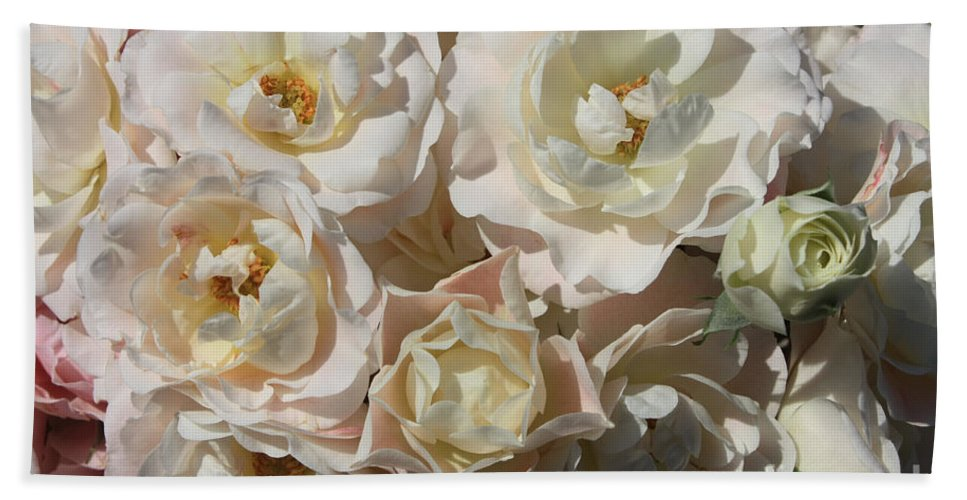 Roses Beach Towel featuring the photograph Romantic White Roses by Carol Groenen