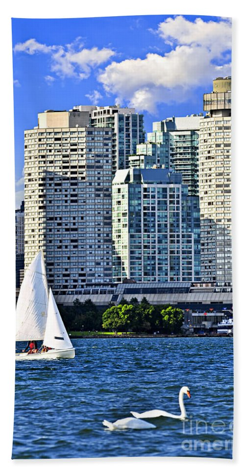 Toronto Beach Towel featuring the photograph Sailing In Toronto Harbor by Elena Elisseeva