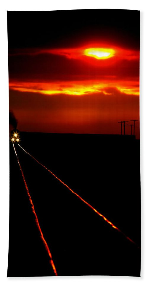 Sunset Beach Towel featuring the photograph Scenic View Of An Approaching Trrain Near Sunset by Mark Duffy