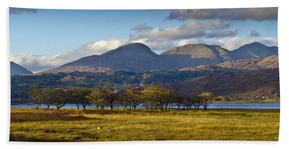 Aodann Chleireig Beach Towel featuring the photograph Scottish Landscape View by Gary Eason