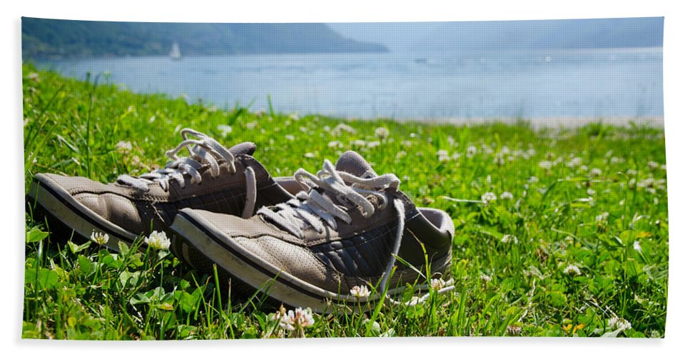 Shoes Beach Towel featuring the photograph Shoes On The Green Grass by Mats Silvan