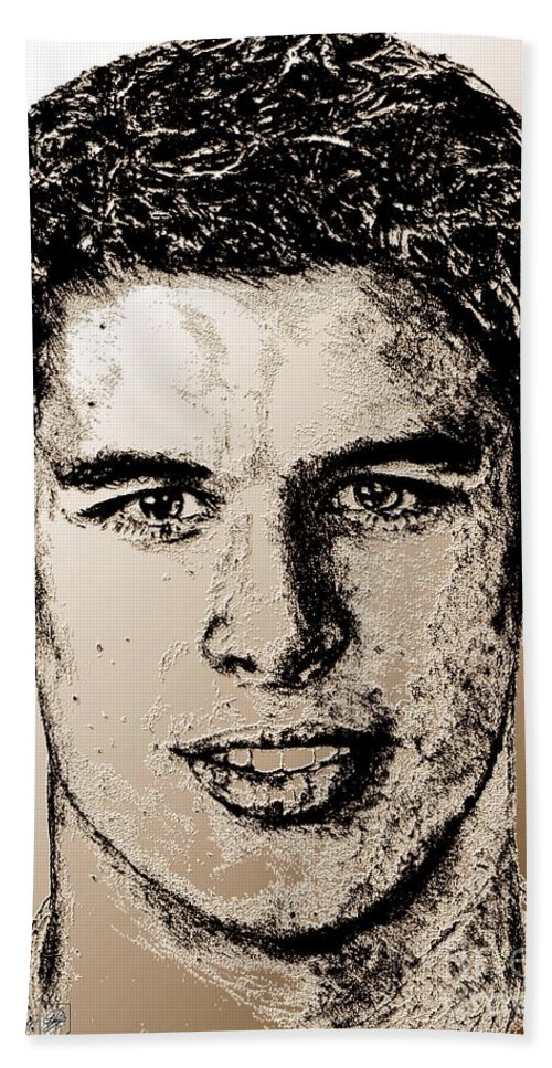 Sidney Crosby Beach Towel featuring the digital art Sidney Crosby In 2007 by J McCombie