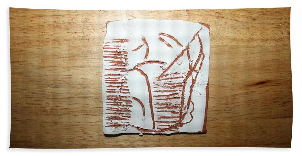 Jesus Beach Towel featuring the ceramic art Sleep - Tile by Gloria Ssali
