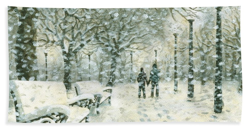 Snowing Beach Towel featuring the painting Snowing In The Park by Kalen Malueg
