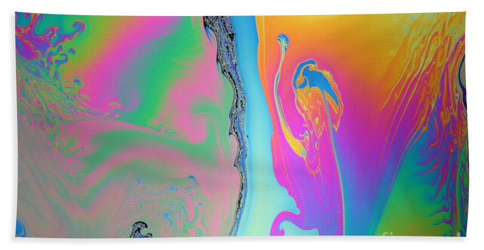 White Light Beach Towel featuring the photograph Soap Film by Ted Kinsman