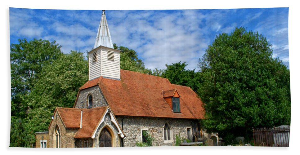 St Laurence Church Beach Towel featuring the photograph St Laurence Church Cowley Middlesex by Chris Day
