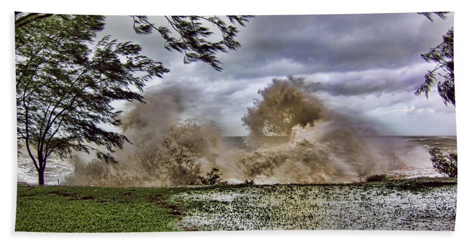 Monsoon Beach Towel featuring the photograph Stormy Seas by Douglas Barnard