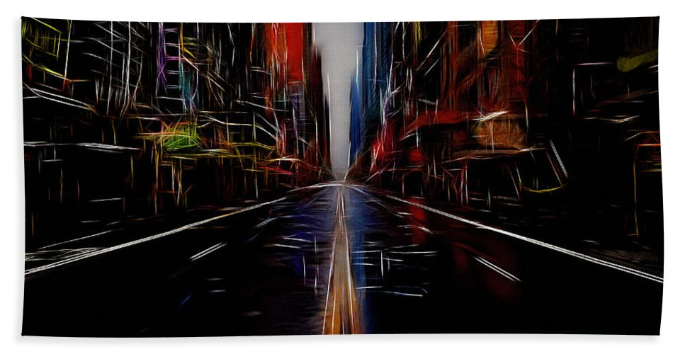 Street New York Ny Abstract Expressionism Impressionism Color Colorful Painting Beach Towel featuring the mixed media Streets Of New York by Steve K