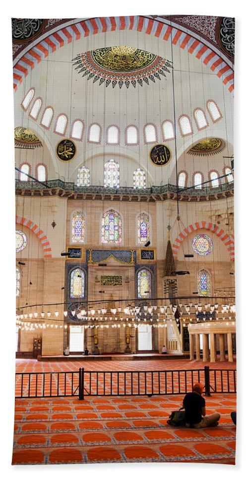 Arch Beach Towel featuring the photograph Suleymaniye Mosque Interior by Artur Bogacki
