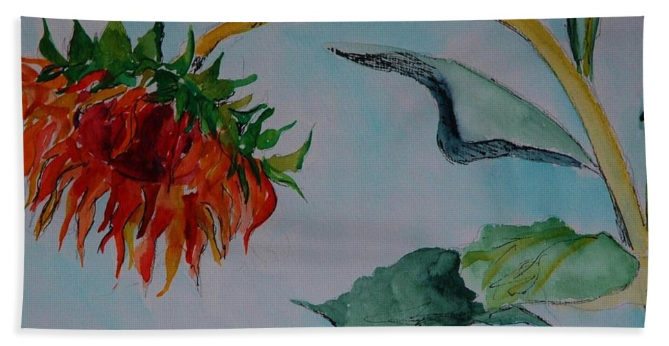 Sunflower Beach Towel featuring the painting Sunflower by Melinda Etzold