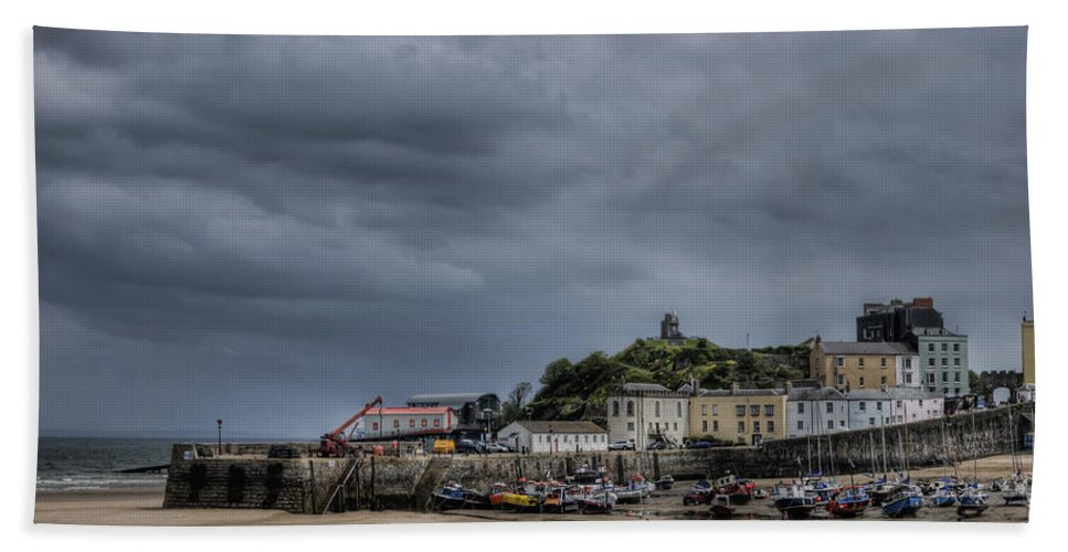 Tenby Pembrokeshire Beach Towel featuring the photograph Tenby Harbour From North Beach 3 by Steve Purnell