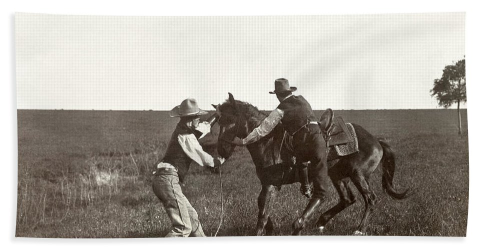 1908 Beach Towel featuring the photograph Texas: Cowboys, C1908 by Granger