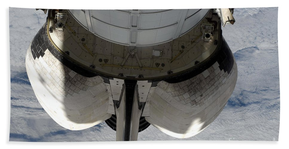 Orbiter Beach Towel featuring the photograph The Aft Portion Of The Space Shuttle by Stocktrek Images
