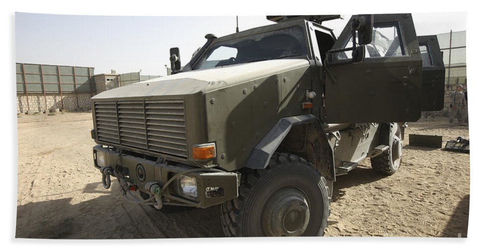Kunduz Beach Towel featuring the photograph The German Army Atf Dingo Armored by Terry Moore