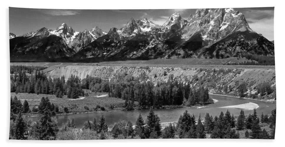 Beach Towel featuring the photograph The Grand Tetons And The Snake River by Ken Smith
