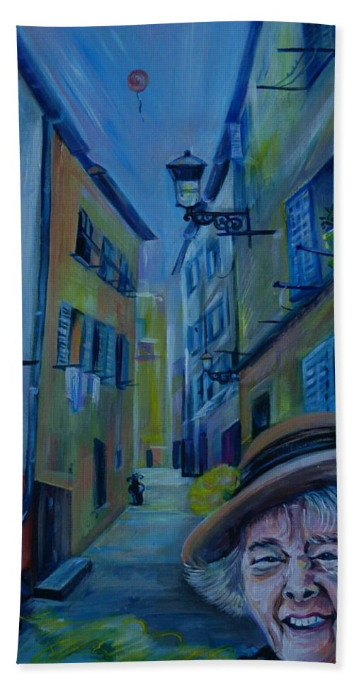 Travel Beach Towel featuring the painting Travel Notebook. Old Nice by Anna Duyunova