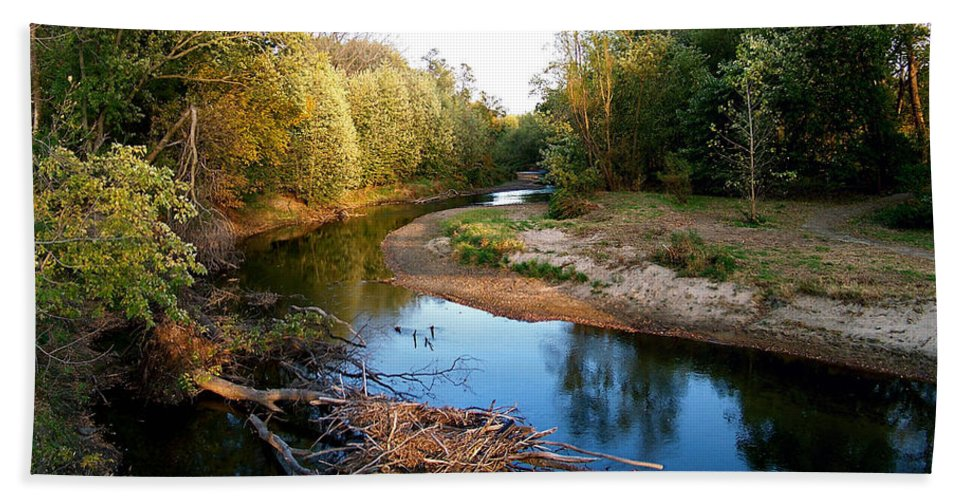 Color Photography Beach Towel featuring the photograph Twisted Creek by Sue Stefanowicz