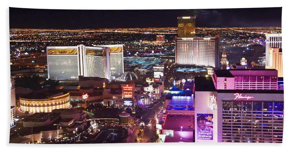 Las Vegas Beach Towel featuring the photograph Vegas Strip At Night by Jon Berghoff
