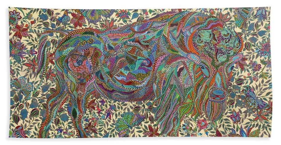 Butterflies Beach Towel featuring the painting Where The Butterflies Roam by Erika Pochybova