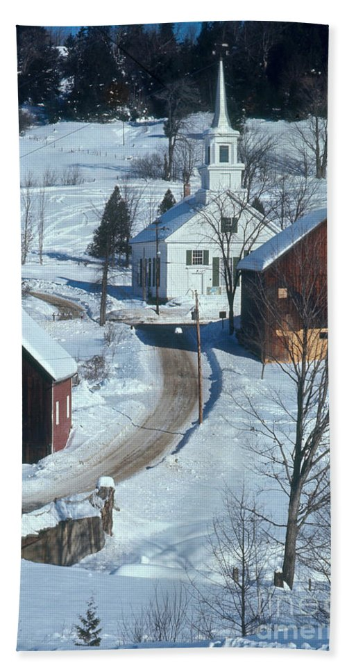 Winter Scene Beach Towel featuring the photograph Winter Countryside by Photo Researchers