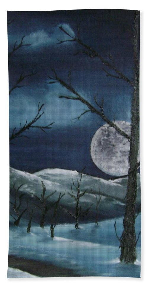 Landscape Beach Towel featuring the painting Winter Night by Charles and Melisa Morrison